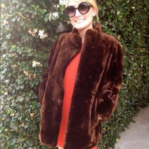 Vintage Chocolate Brown Fur winter coat small